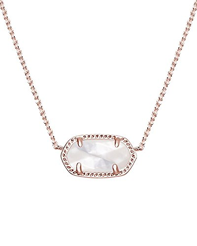 Kendra Scott Signature Elisa Pendant Necklace in Rose Gold Plated and Ivory Mother of Pearl (Necklace Womens Ivory)