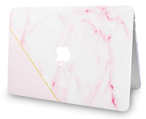 """KECC Laptop Case for MacBook Air 13"""" Retina (2020/2019/2018, Touch ID) w/Keyboard Cover + Screen Protector Plastic Hard Shell A1932 3 in 1 Bundle (Pink Marble with Gold Stripe)"""