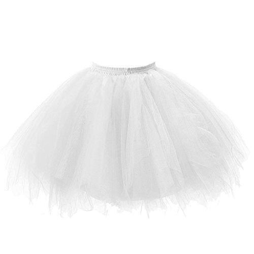 [Honeystore Women's Tutu Petticoat Skirt Prom Evening Occasion Accessory White] (Black Halloween Skirt)