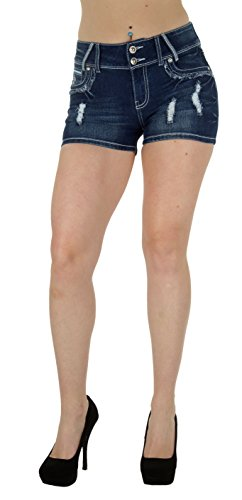 N596R-SH-P - Plus Size, Classic Design, Ripped Distressed, Destroyed Shorts in Washed Blue Size 14