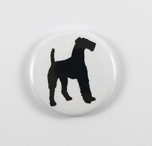 Airedale Terrier Silhouette (2) Pin Back Button
