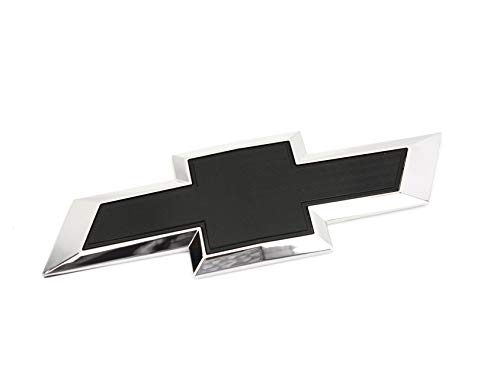 (1 New Custom Black & Chrome Silverado 2014-2018 Tailgate Bow TIE Emblem)