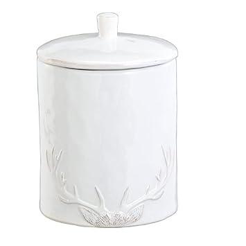 Vorratsdosen Keramik Landhaus vorratsdose aus keramik mit geweih weiß landhaus amazon de küche