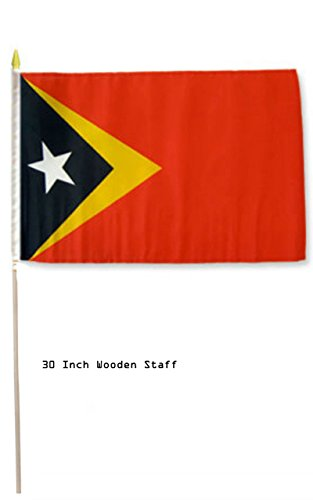 """AES 12x18 12""""x18"""" East Timor Leste Country Stick Flag 30"""" Wooden Staff"""