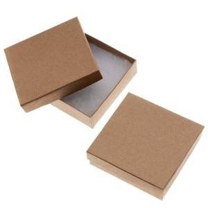 (20 Pack Kraft 3.5 X 3.5 X 1 Inch Size Cotton Filled Jewelry Presentation Gift Boxes)