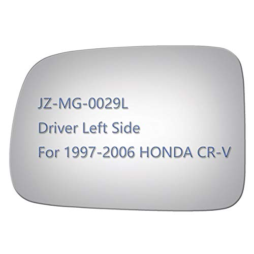 JZSUPER Side Mirror Glass for 1997-2006 HONDA CR-V, Driver Left Side View LH Replacement Rearview Flat Glass, Non Heated Including Adhesive