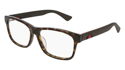 Gucci GG 0176O 002 Havana Plastic Rectangle Eyeglasses 56mm
