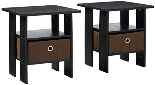 FURINNO Andrey 2-Pack Bin Drawer End Table Nightstand
