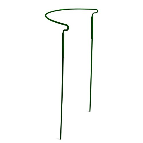 """GrayBunny GB-6896A1 Half Round Plant Support Ring/Cage - 15""""x 30"""", Garden Green Color, Solid Steel Rust & UV Resistant Semi-circular Plant Border Metal Support, Wire Hoop Plant Support System"""
