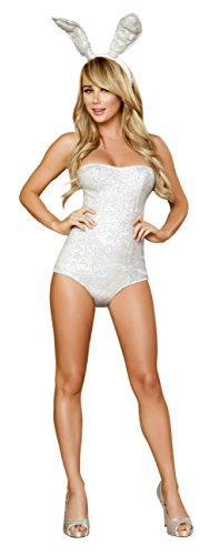 [Sexy Women's 2pc White Rabbit Bunny Hop-About Hottie Costume (L)] (White Rabbit Dance Costumes)