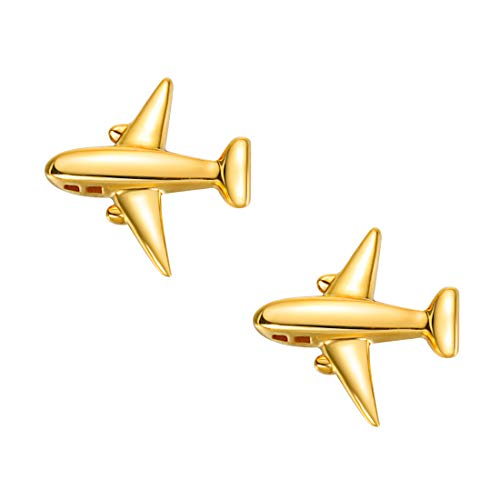 Carleen 18k Solid Yellow Gold Dainty Tiny Statement Airplane Earrings Delicate Fine Jewelry Stud Earrings For Women ()
