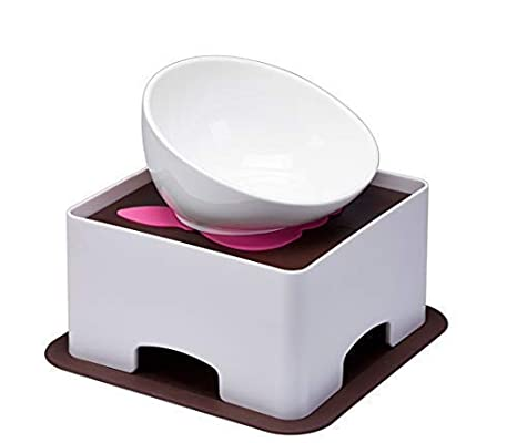 Pet Feeder Ceramic White Bulldog Bowl Set With Dining Table Drink Water Pets Supplies Non-slip Feeding Dishes Home & Garden