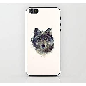 PEACH- Wolf Head Pattern Hard Case for iPhone 4/4S