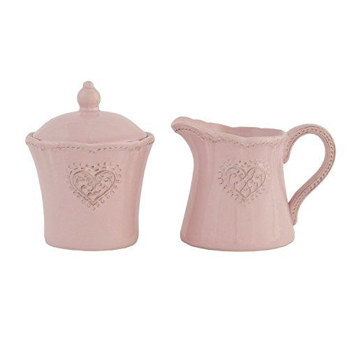 Milch und Zucker Set rosa im Landhausstil Milchkännchen Zuckerdose