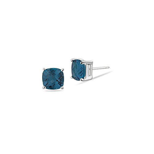 3.35-3.93 Cts of 7 mm AA Cushion Checkered London Blue Topaz Stud Earrings in 14K White ()