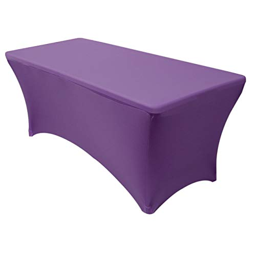 - Your Chair Covers - Rectangular Fitted Stretch Spandex Table Cover, Purple, 6' L