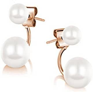Double Simulated Pearls Cycle Stud Earrings 18 ct Rose Gold Plated White Simulated Pearls Swarovski
