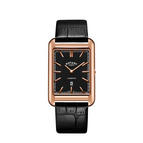 Rotary Mens Cambridge Rose Gold Square Black Leather Strap GS05284/04