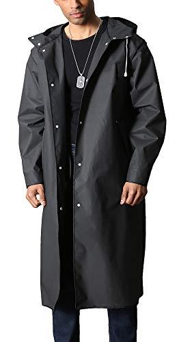 Rain Poncho for Men EVA Raincoat Rainproof Jacket Full Length Rainwear Reusable Rain Jacket Waterproof Hooded Hiker Raincoat Black