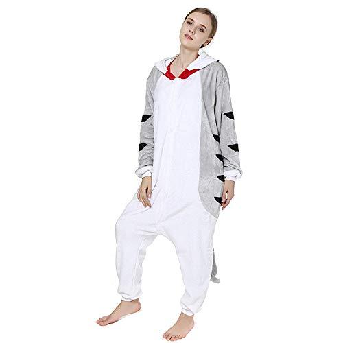Flannel Animal Cosplay Costume Cute Pajamas Adults Blanket Sleepers Children and Animal Dress Pajamas(Grey Medium)