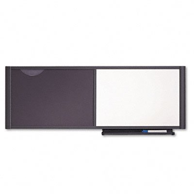 Quartet Precision Workstation Fabric and Dry Erase Combo Bulletin Board, 48 x 18 Inches, Includes Hardware, Tray and Marker, Graphite Finish Frame (WC4818)