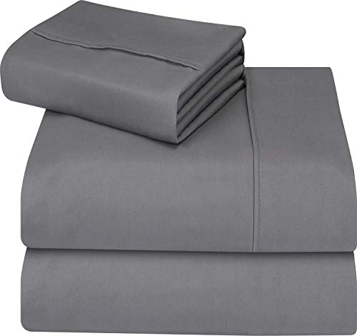 Utopia Bedding smooth applied Microfiber Wrinkle Fade and Stain repellent 3-Piece Twin Bed piece Set - Grey