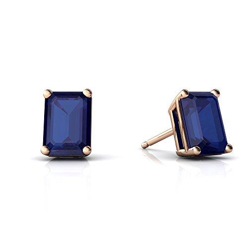 5 Mm Emerald Earrings (14kt Rose Gold Lab Sapphire 7x5mm Emerald_Cut Emerald-Cut Stud Earrings)