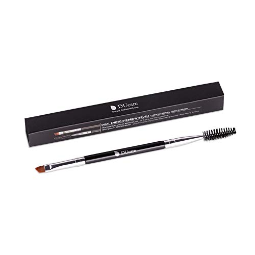 Small Angle Brush - DUcare Duo Eyebrow Brush - Perfect Quality Angled Eye Brow Brush and Spoolie Brush