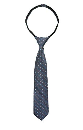 Spring Notion Boys' Pre-tied Woven Zipper Tie Large Turquoise Dotted Dotted Necktie