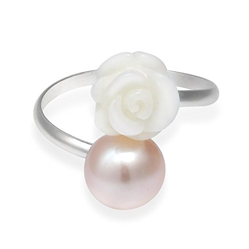 (AeraVida Charming White Rose Wrap Cultured Freshwater Pink Pearl .925 Sterling Silver Ring (8))
