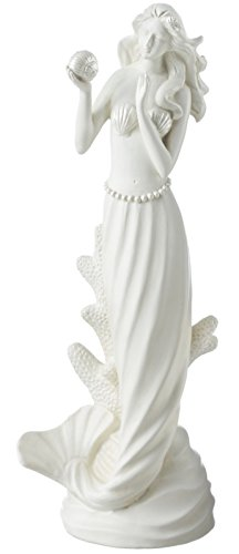 Midwest-CBK Coastal White 10 Inch Standing Mermaid With Shell Tabletop Figurine