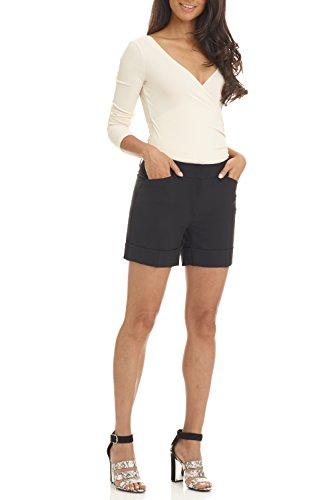 Rekucci Women's Stretch Cotton Spandex Cuffed Perfect Chino Short (18,Black) ()