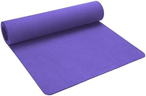 Yoga mat ヨガマット、0.6 CmプロフェッショナルヨガマットTPEエコスリップフィットネスマット、フィットネスヨガマット、ピラティス、フロアトレーニング付き workout (色 : Purple)