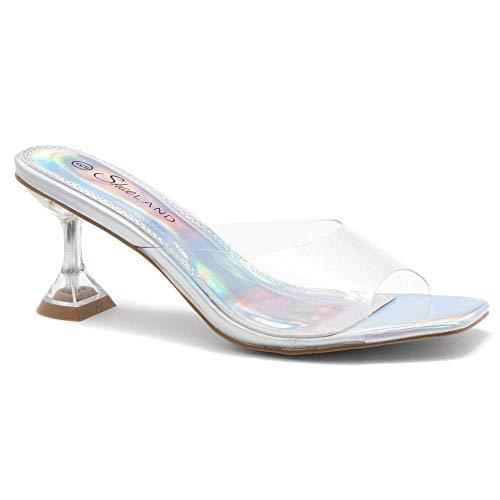 Shoe Land Celebrate Open Toe, Open Back Stiletto Heel, Perspex Vamp Slip-on Sandals