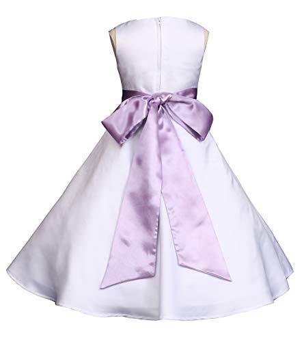 Wedding Pageant White A-Line Matte Satin Jr. Bridesmaid Flower Girl Dress (18, White/Lilac)