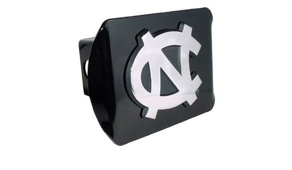 North Carolina Tarheels Brushed Metal Trailer Hitch Cover with NCAA Chrome Metal Logo