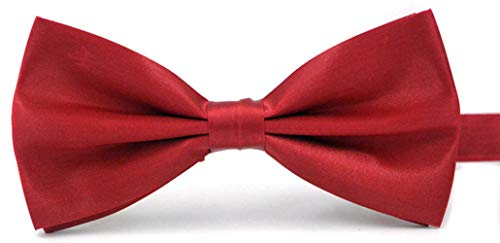 (Taishenyuan Mens Classic Pre-Tied Satin Formal Tuxedo Bowtie Adjustable Length Large Many Colors Available (Red wine))