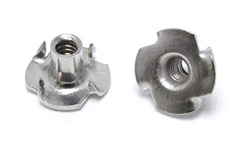 """Qty 25 1//4-20 x 7//16/"""" Long Barrel Stainless Steel T-Nut Tee Nut 4 Prong"""