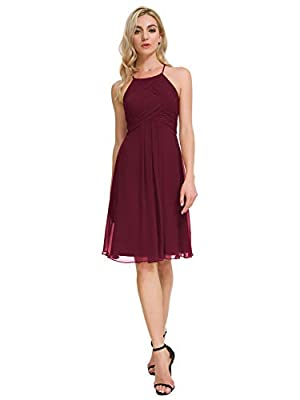 Alicepub Chiffon Bridesmaid Dresses Halter Cocktail Dress Short Homecoming Party Dresses, Burgundy, US8