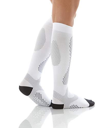 Mojo Compression Socks Unisex Elastic Graduate Knee Length with Power Style Design and Cushioned Foot & Heel | Improve Muscle Endurance | Made with Coolmax | X Large | White