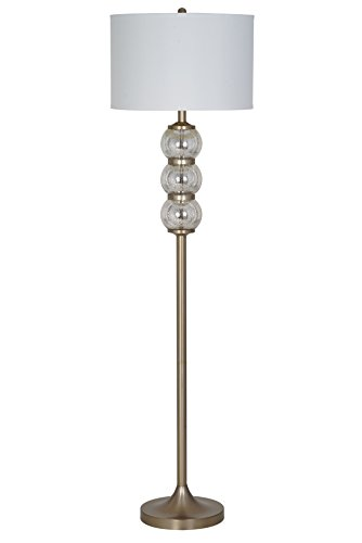 """Catalina Lighting Cecilia 62"""" Silver Mercury Glass Orb with Metal Stick Floor Lamp with Off-White Linen Shade and 3-Way Rotary Switch, 20709-000"""