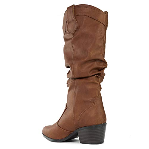 Heel Toe Women's RF on Cowboy Western Pointy Cognac Low ROOM Stacked Pull FASHION Boots OF nRpp8xX