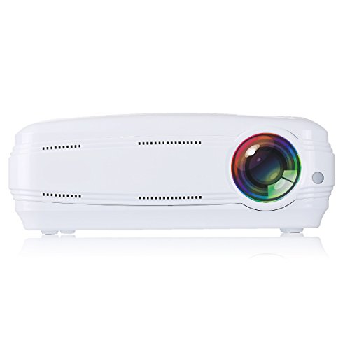 Projector, Fitiger1080P Multimedia Portable HD LED Projector Home Video Projector Theater Projector (white)