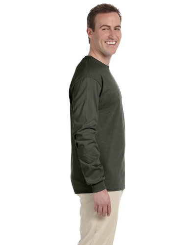 Gildan Mens Ultra Cotton 100% Cotton Long Sleeve T-Shirt, 2XL, Military Green
