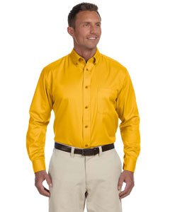 Harriton Men Easy Blend Long-Sleeve Twill Shirt Stain-Release XL Sunray Yellow