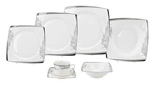 Porcelain Dinnerware Set, 28-Piece Bone China Service by Lorren Home Trends/Belle Design: Dinner Plates, Soup Bowls, Salad Plates, Butter Dishes, Coffee Cups with Saucers, Dessert Bowls (Plated European Dinner Silver)