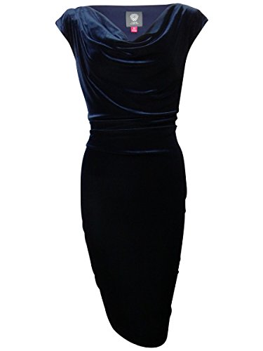 Cowl Neck Velvet Sheath Dress (6, Navy) (Vince Cowl Neck)