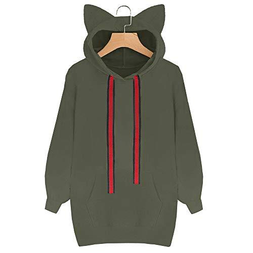 Felpa Verde Ms Maniche Vovotrade Con Maglia Gatto A Lunghe Sweater Cappuccio Per Cat Cappuccio OwgqdwP