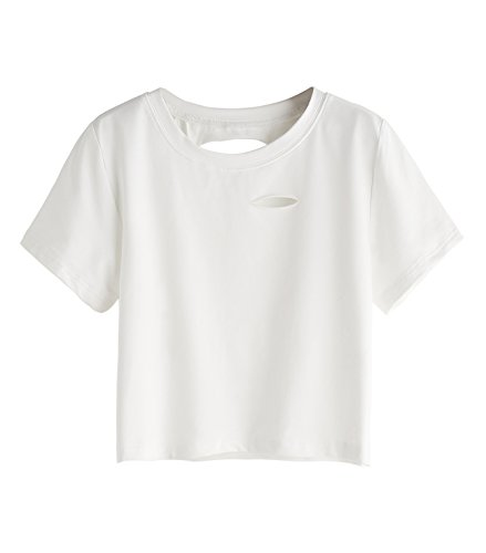 SweatyRocks Tshirt Camo Print Distressed Crop T-shirt (Medium, White-Crop Top)