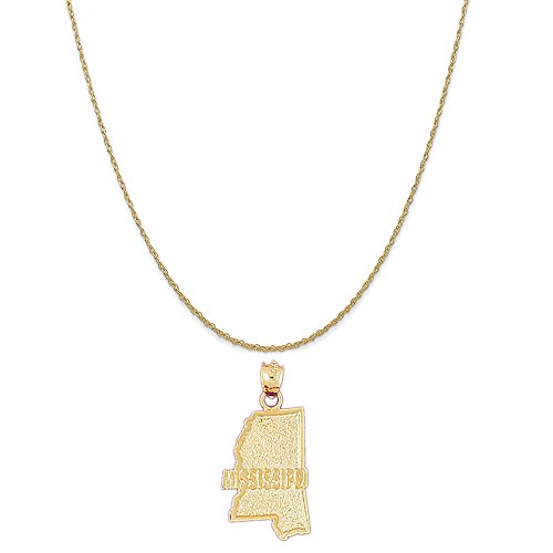 14k Yellow Gold Mississippi Pendant on a 14K Yellow Gold Rope Chain Necklace, 18